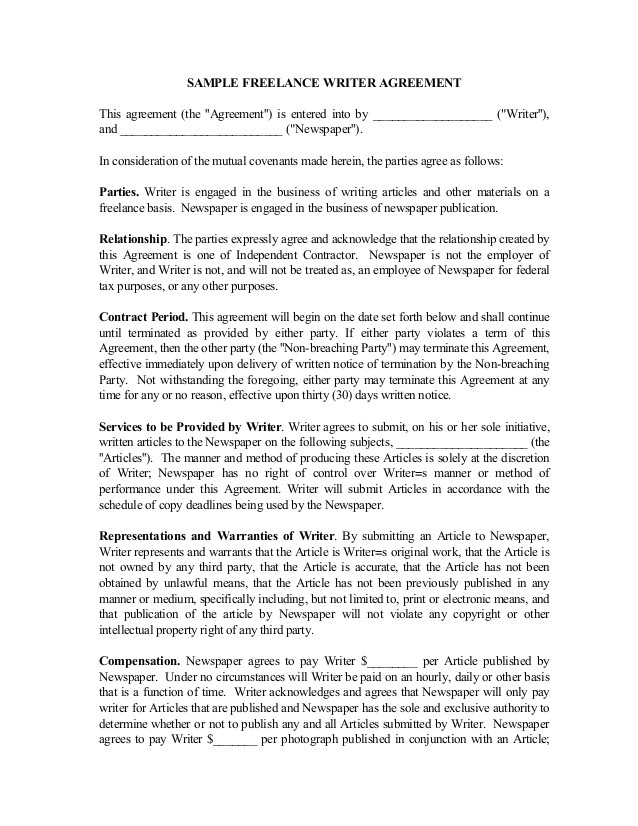 freelance writer contract