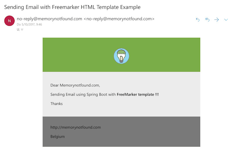 spring mail sending email freemarker html template example
