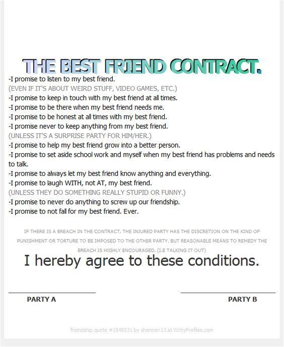 Friendship Contract Template Best Friend Contract Template Explore Friend Thing