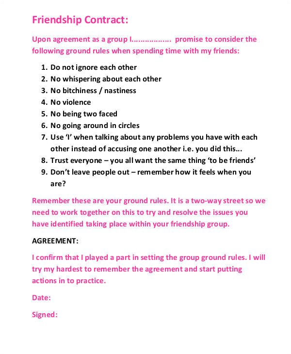 Friendship Contract Template Printable Agreement Samples