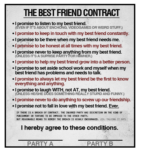 Friendship Contract Template Printable Friendship Contracts Printable Friendship