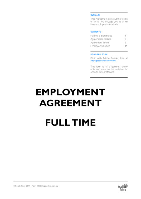 employment agreement full time template free sample download diy kit
