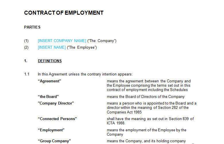 employment contract full time template