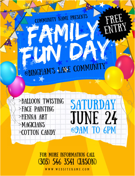 family fun day flyer design template