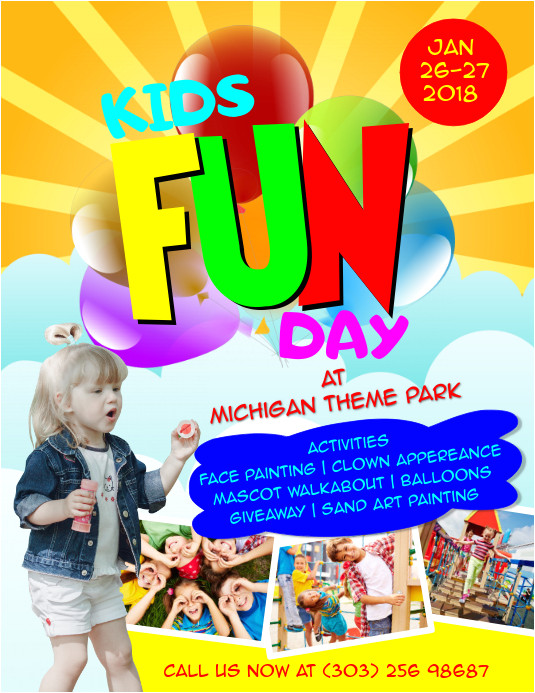 kids fun day poster template