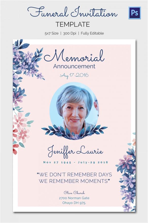 sample funeral invitation