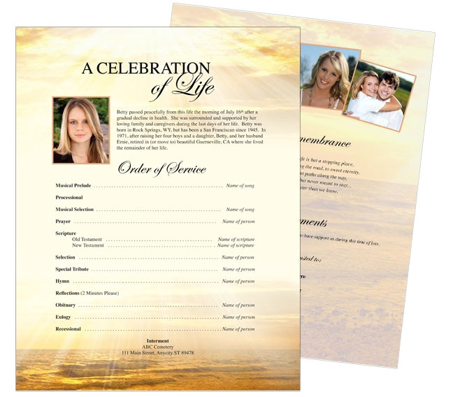 funeral memorial stationary flyer sheets templates
