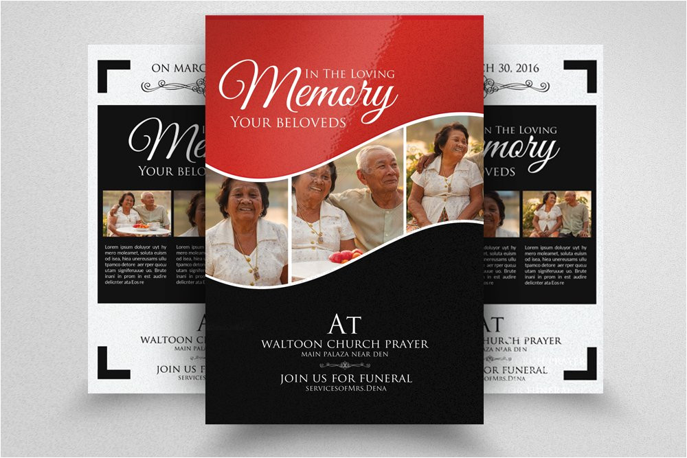 849116 double sided memory funeral flyer
