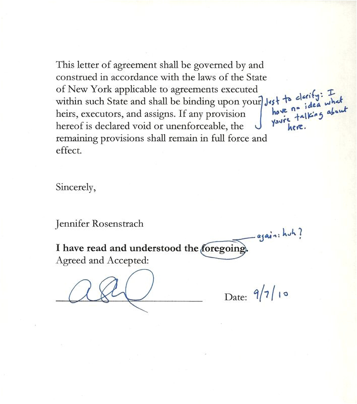 letter of agreement
