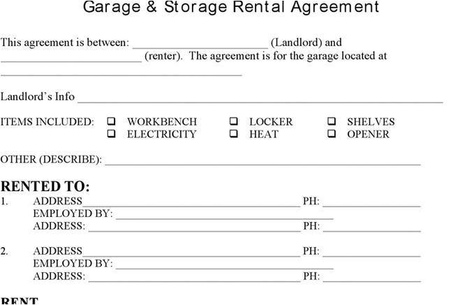 storage rental template