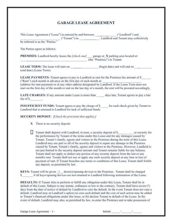 garage lease agreement
