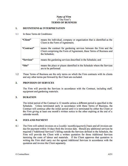 gardening contract