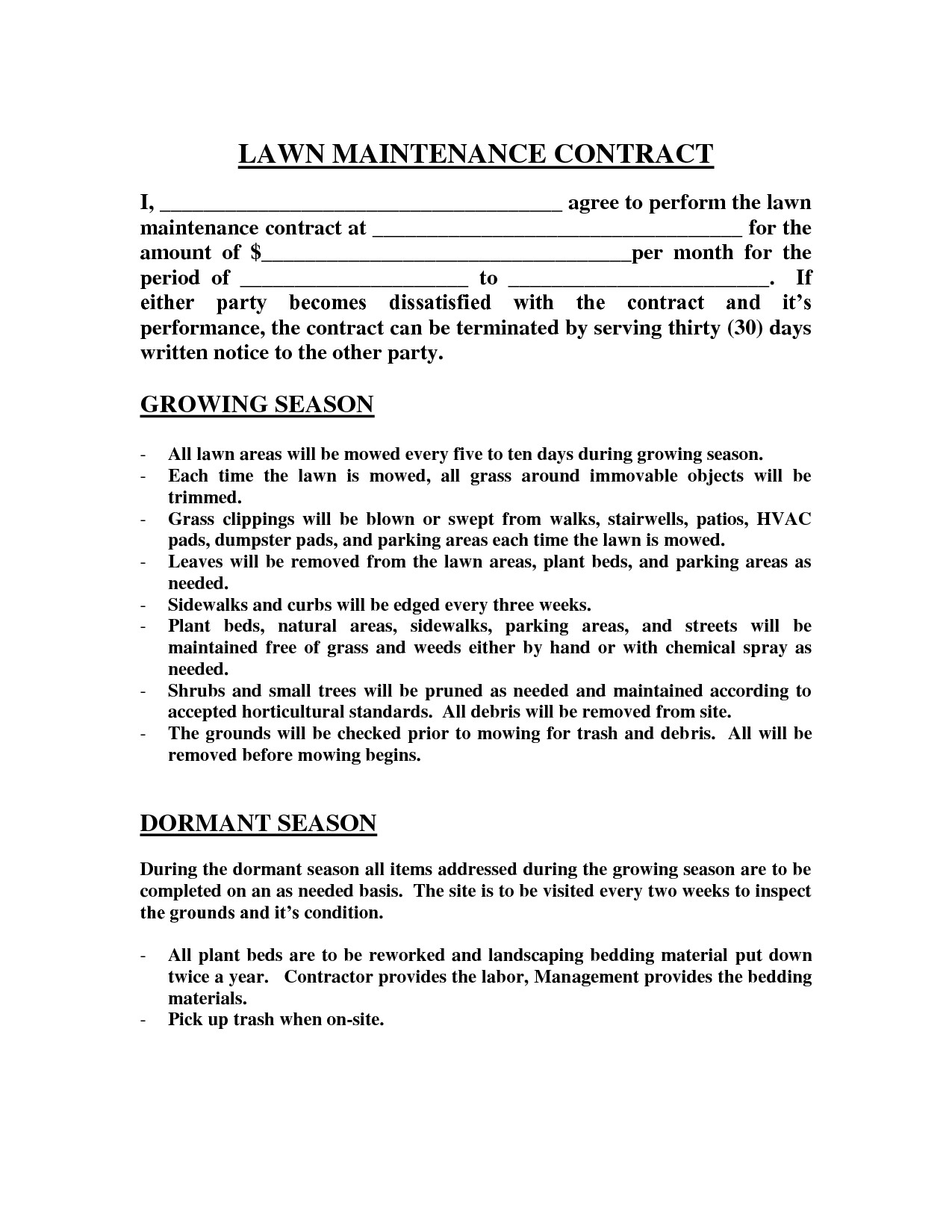 Gardening Contract Template Lawn Maintenance Contract Images Lawn Maintenance