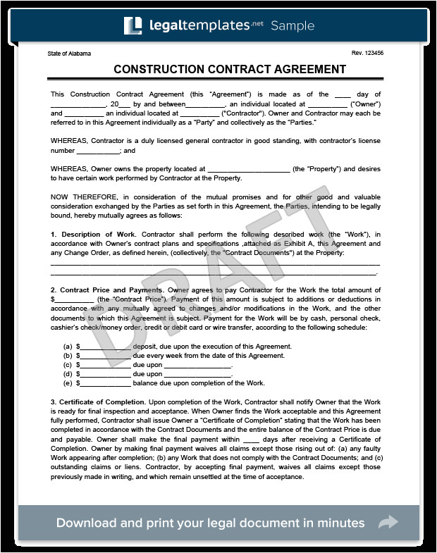 General Contractors Contract Template Create A Free Construction Contract Agreement Legal