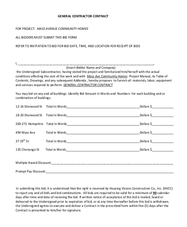 General Contractors Contract Template Sample Contractor Contract form 7 Free Documents In Pdf