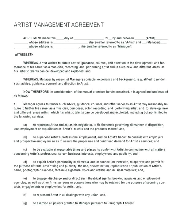 hotel general manager contract template sync license agreement music restaurant