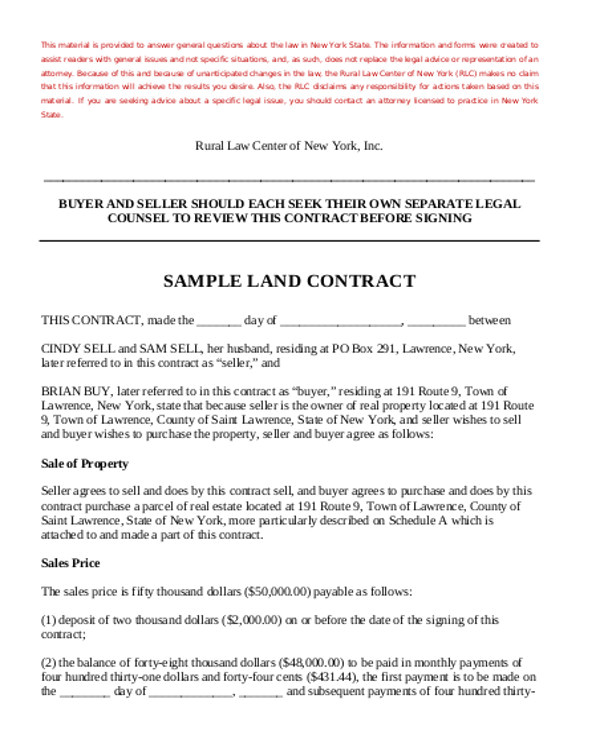 land sales contract