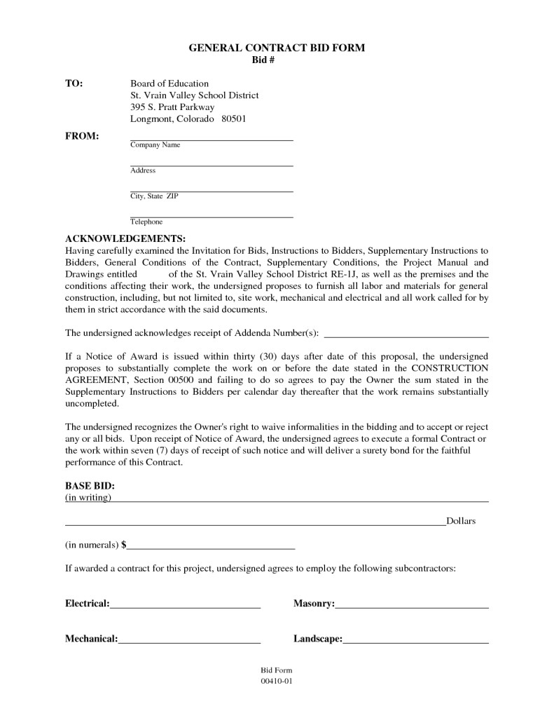Generic Construction Contract Template General Contractor Contract Sample Templates
