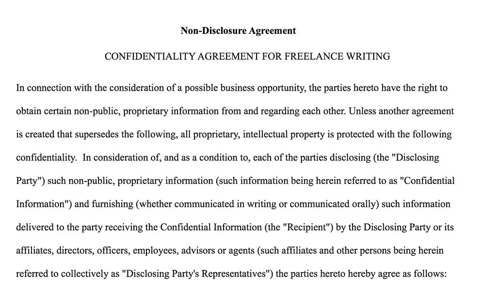 Ghost Writer Contract Template Confidentiality Agreement for Writers Authors Everynda