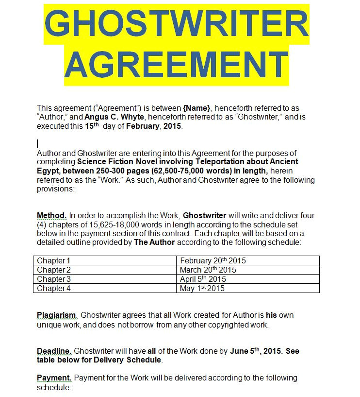 ghostwriter agreement sample templates