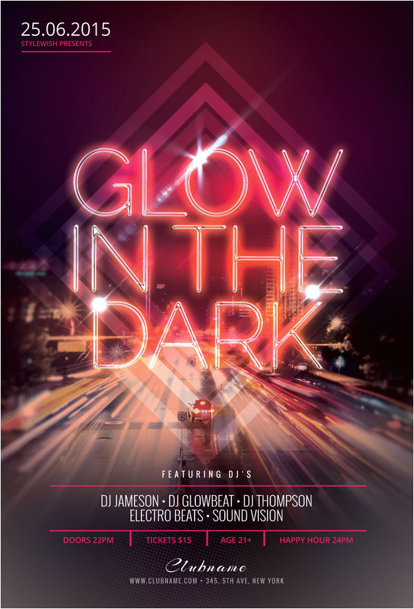 glow in the dark flyer template 587196926