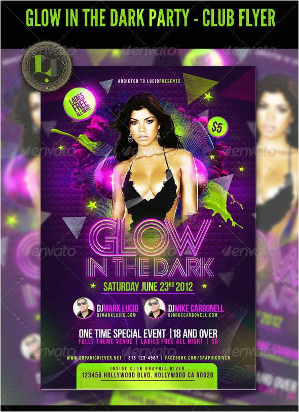 glow in the dark party club flyer 306365874