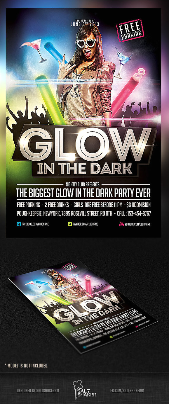 glow in the dark party flyer template 389464810