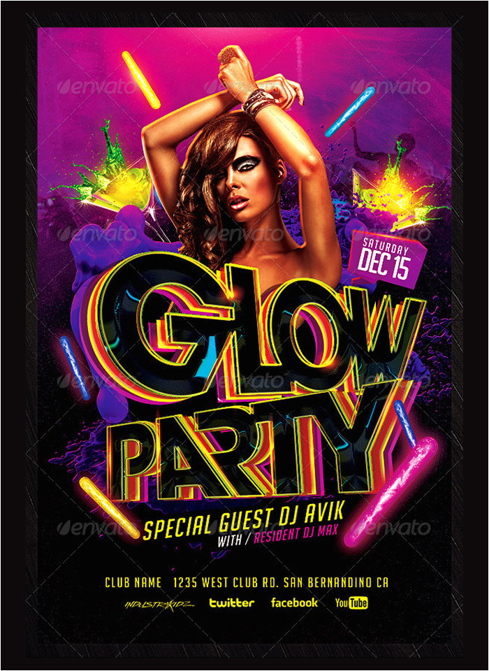 glow party flyer psd templates