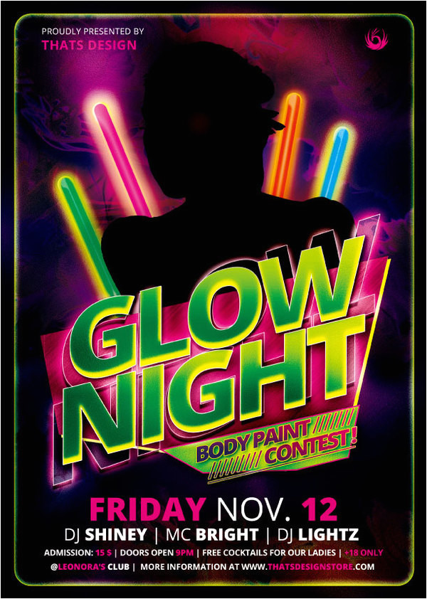 309348 glow night party flyer psd template