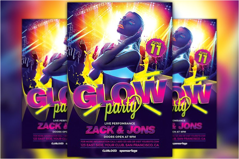 828777 uv glow party flyer template