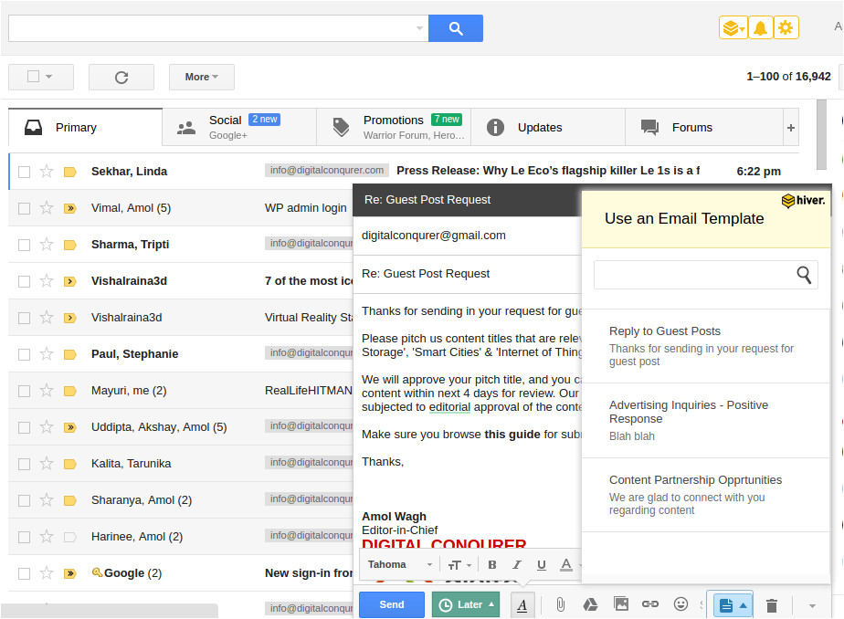 hiver review shared gmail productivity tool