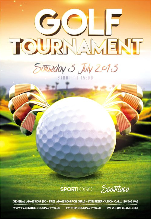 flyer psd template golf tournament event facebook cover