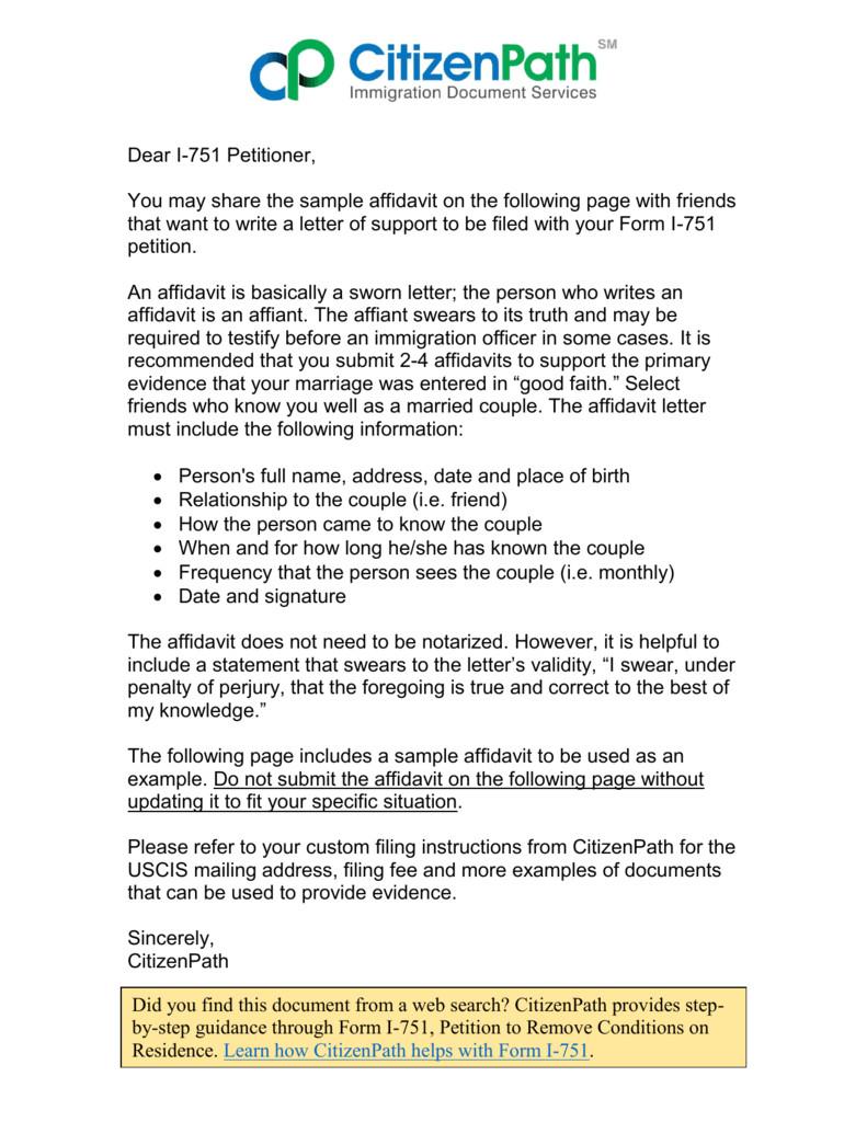 example affidavit letter immigration