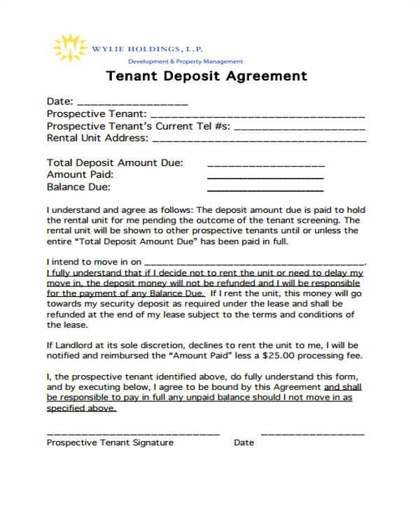 good faith deposit agreement form