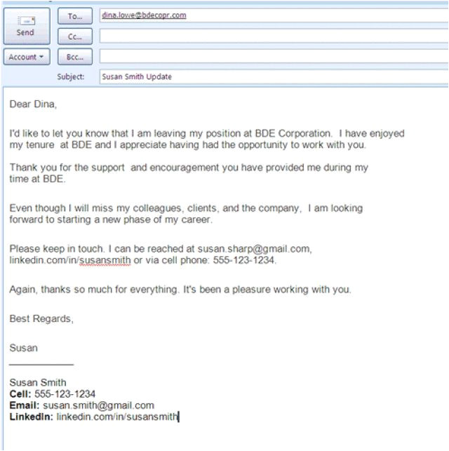 farewell email to colleagues