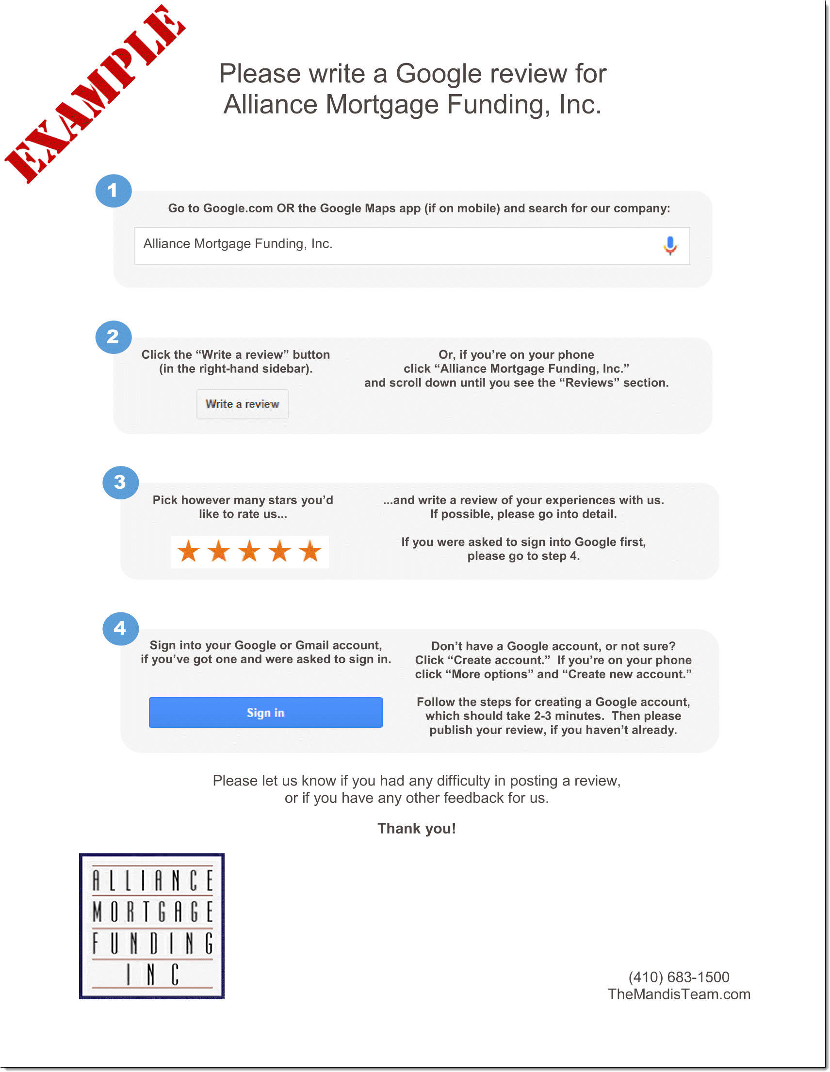 google review handout