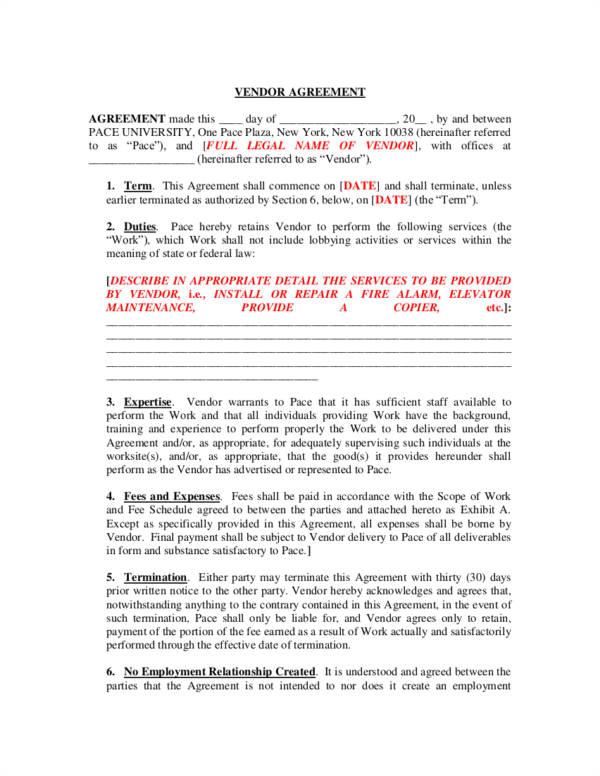 vendor contract templates