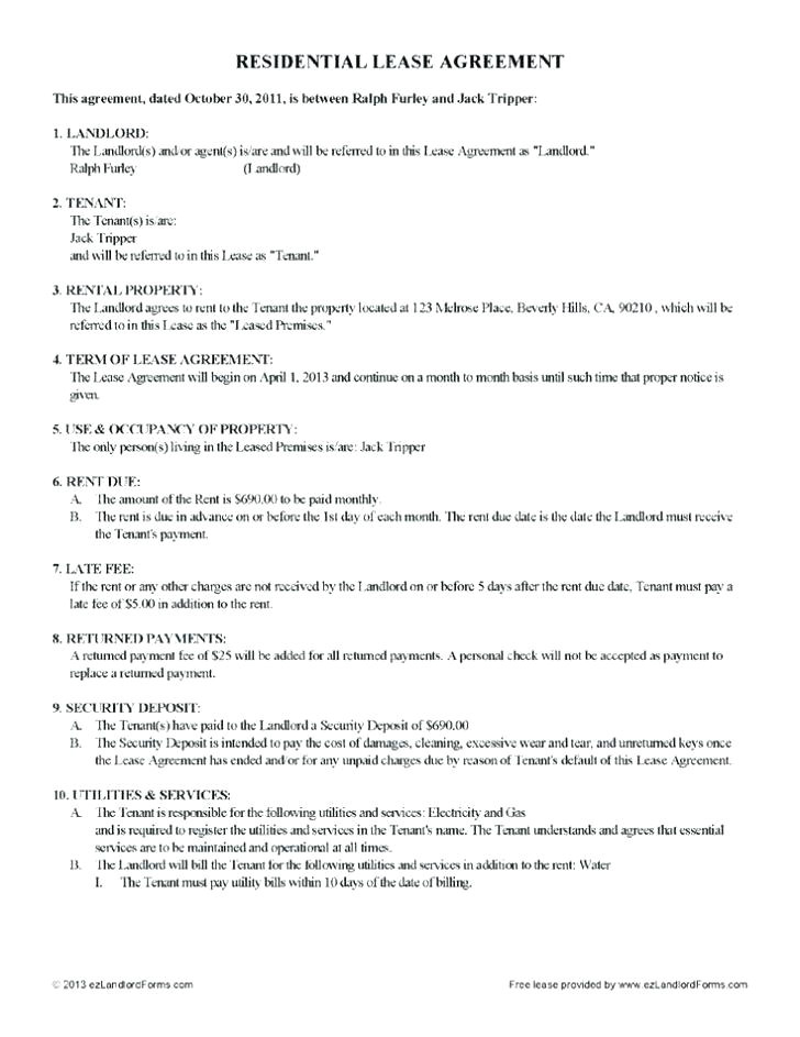 rental property contract template