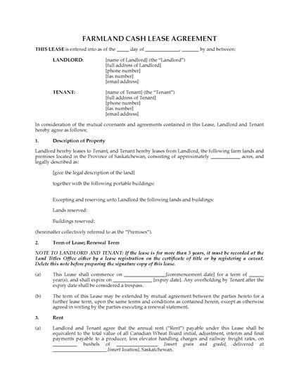 saskatchewan farm land cash lease agreement