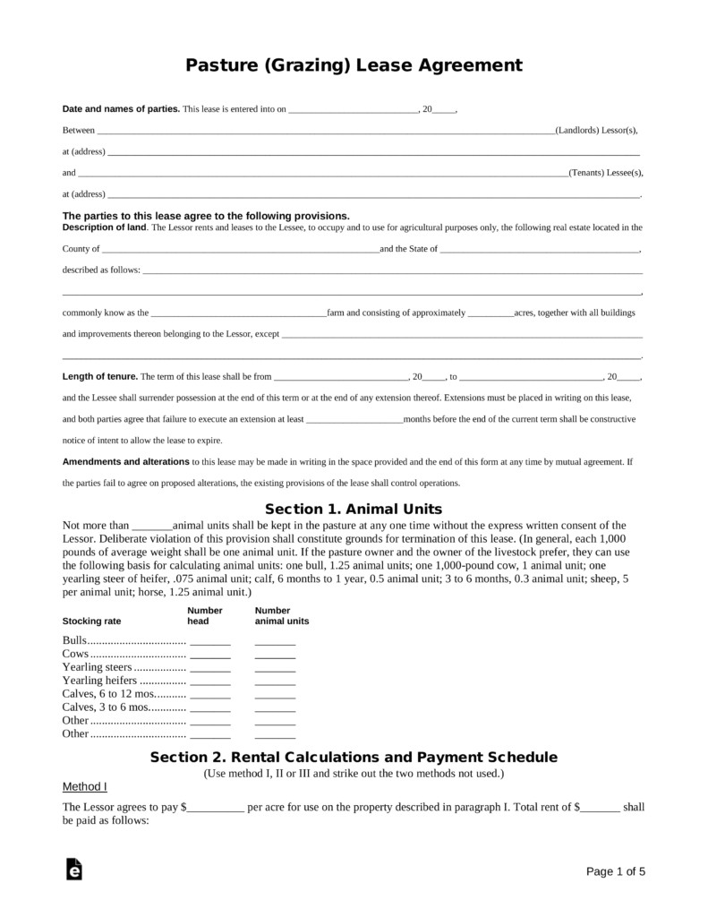pasture grazing rental lease agreement template
