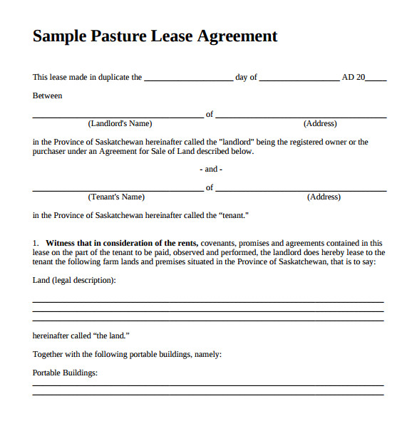 pasture lease agreement template