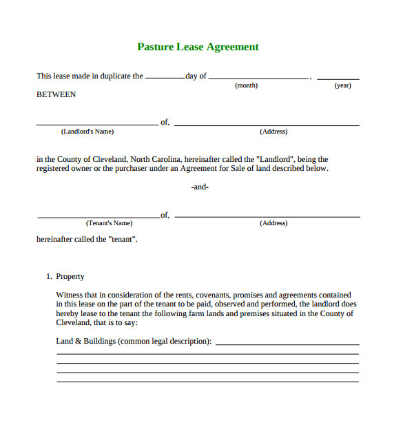 Grazing Contract Template Pasture Lease Agreement Template 10 Download Free
