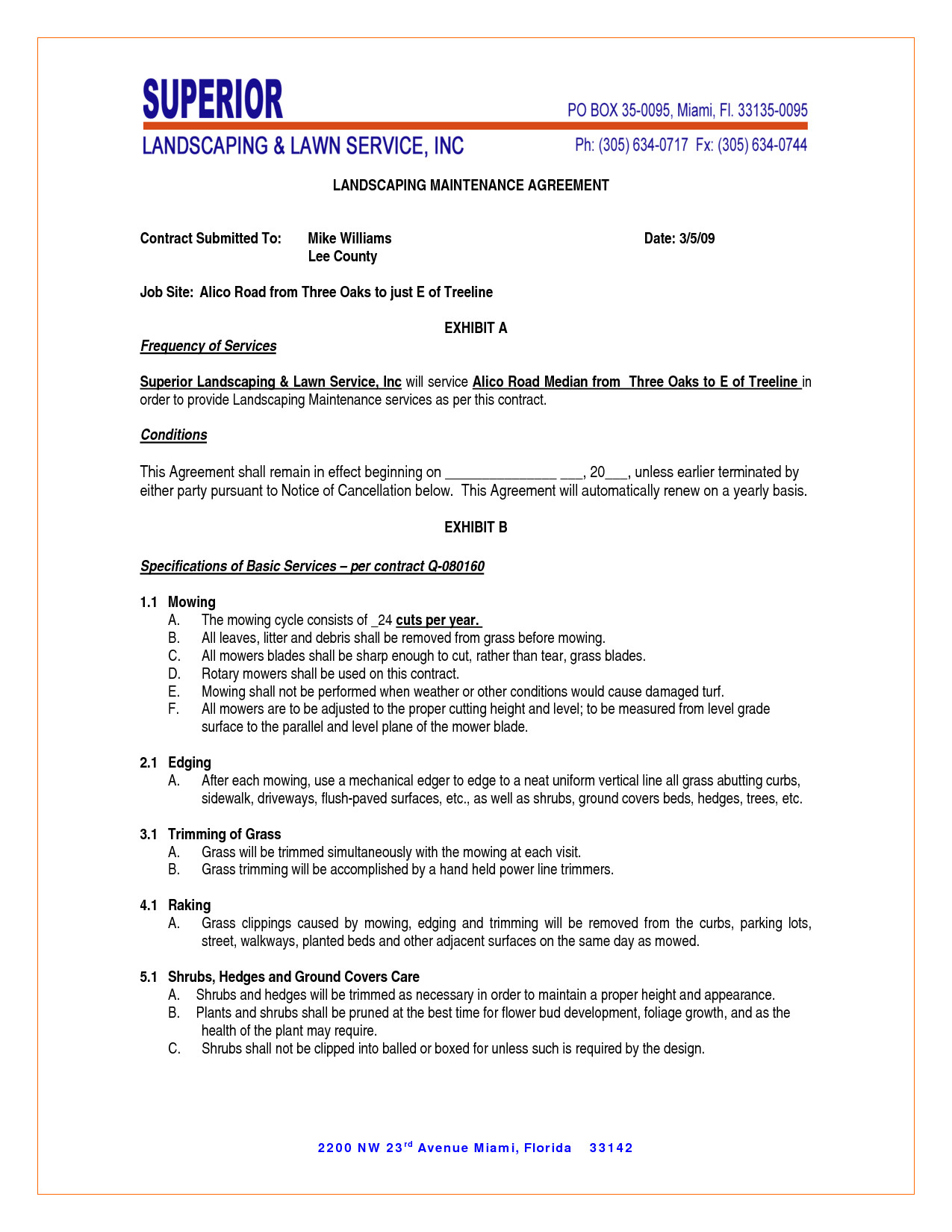 Grounds Maintenance Contract Template Maintenance Contract Agreement Free Printable Documents