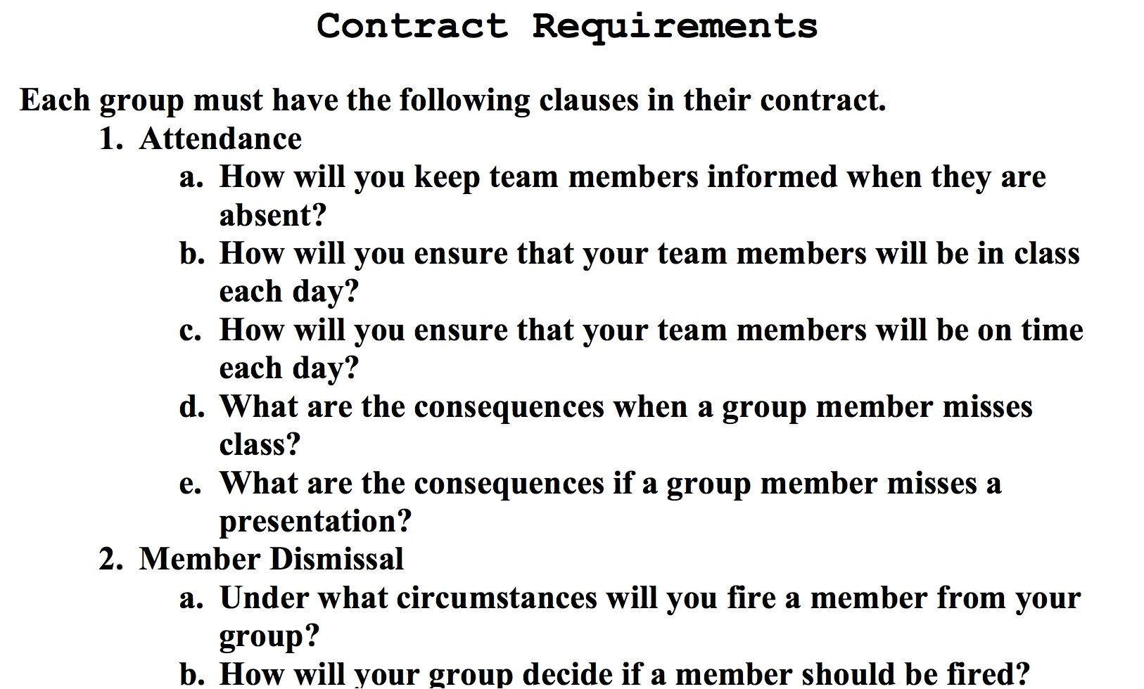 Group Contract Template for Students Investigating Authentic Questions Learning In Hand with
