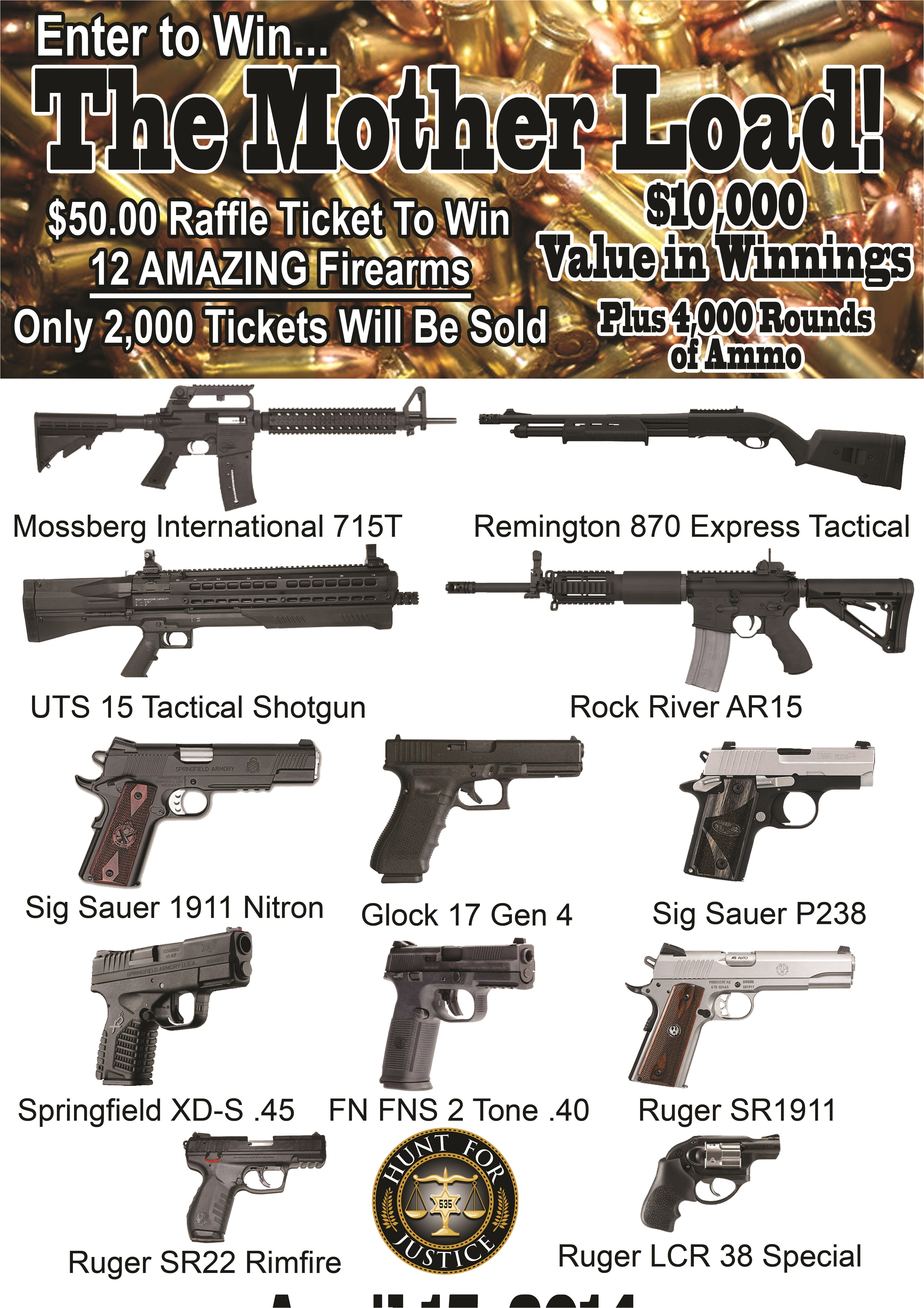 Gun Raffle Flyer Template events Hunt for Justice