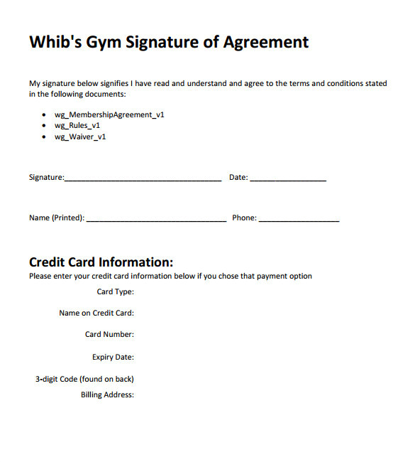 Gym Membership Contracts Templates 11 Gym Contract Templates Pages Word Docs