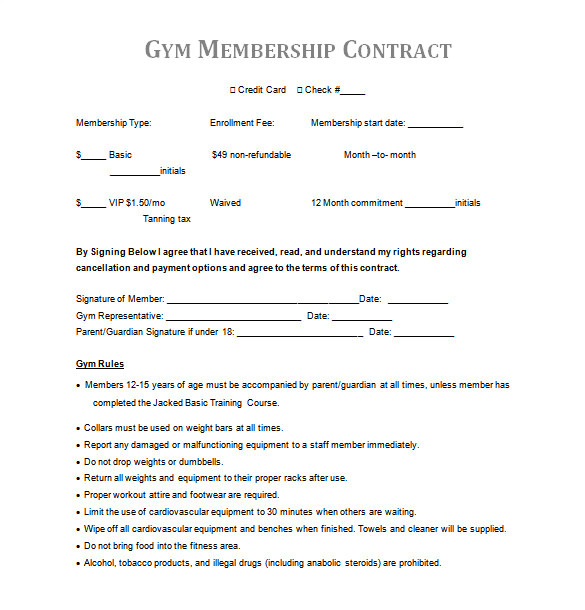 gym contract template