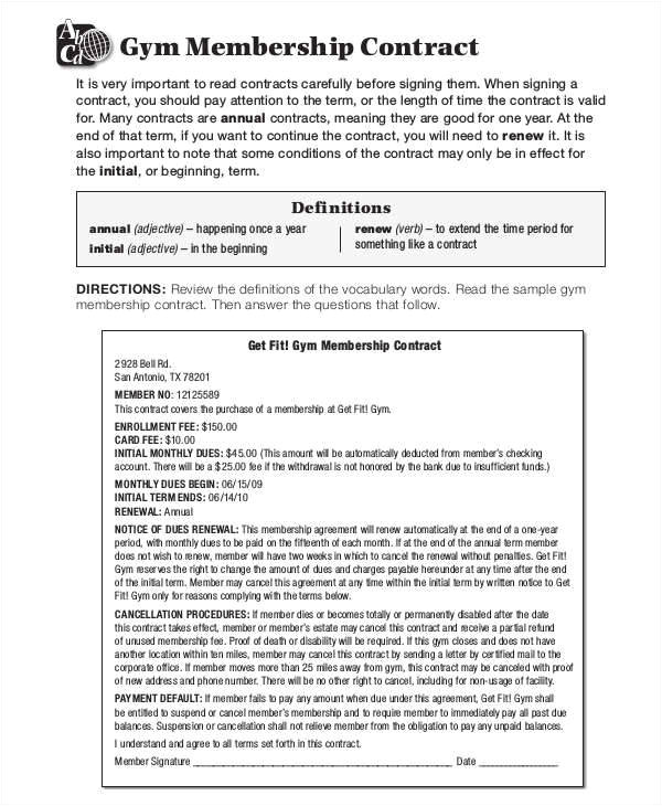 Gym Membership Contracts Templates 42 Free Contract Templates