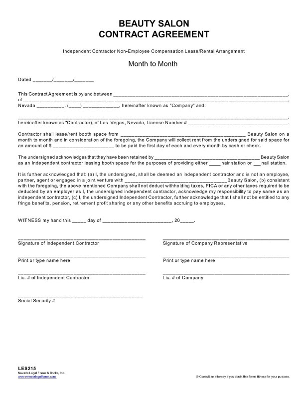 beautysalon independent contractor agreement template english