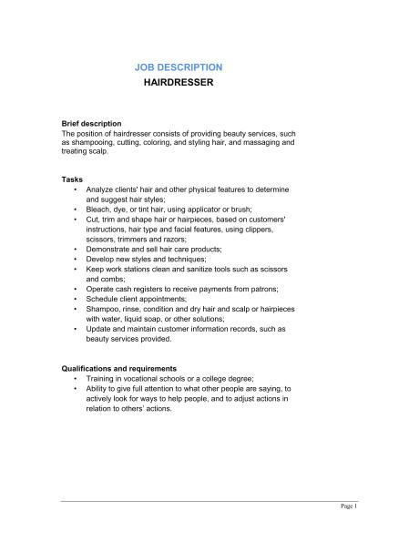 hairdresser job description d11660